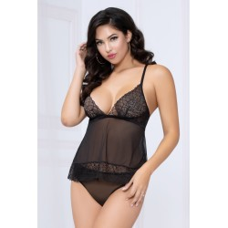 Lace and Mesh Camidoll and Panty - Black - Extra Large