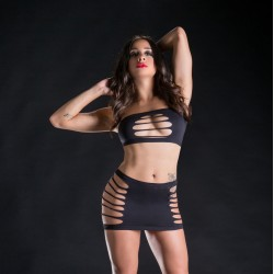 2 Piece Set Top and Skirt - One Size - Black