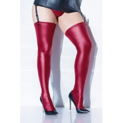 Wet Look Stocking - Merlot - One Size