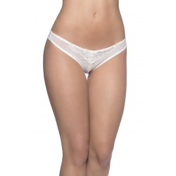 Crotchless Thong With Pearls and Venise Detail - White - One Size