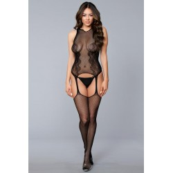 Halter Lace Suspender Bodystocking - One Size - Black