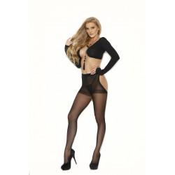 Sheer Thong Back Pantyhose - One Size - Black