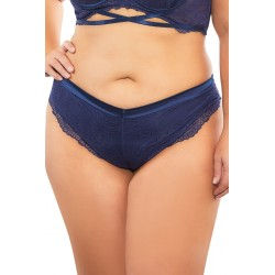 High Leg Linded Thong With Crossing Back Straps - Estate Blue - 3x