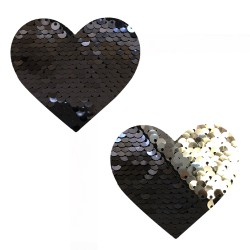 Sequin Medusa Magic Flip Black to Silver I Heart  U Nipztix Pasties
