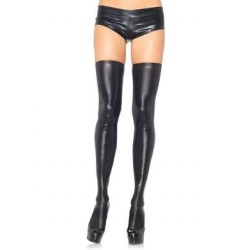 Wet Look Thigh Highs - Black  - Medium - Large