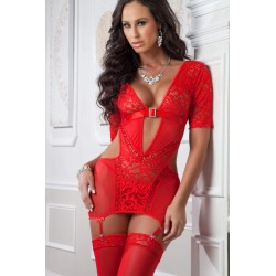 3pc Lacy Garter Mini Dress and Stockings - One Size - Red Desire
