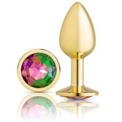 Cloud 9 Novelties Anal Gems Jeweled Gold Chromed Anal Plug - Medium