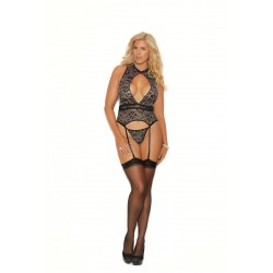 Lace Camisette and G-String - Black - 1x