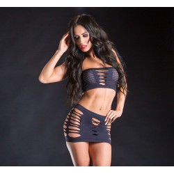 2 Piece Top and Skirt - One Size - Black