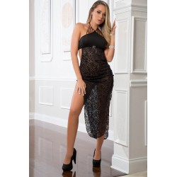 2pc Shoulder-Baring Laced Night Dress - One Size - Black
