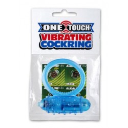 Mini One-Touch Cock Ring - Blue