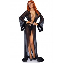 3pc Fur Trimmed Robe Set - Black - One Size
