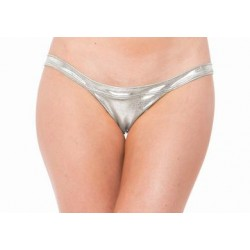 Lame Exposed Side Panty -  Silver - One Size