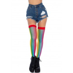 Rainbow Fishnet Thigh Highs - One Size - Multicolor