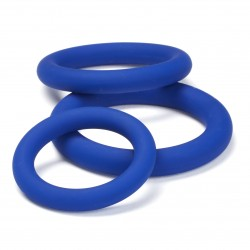 Pro Sensual Silicone Cock Ring 3 Pack - Blue