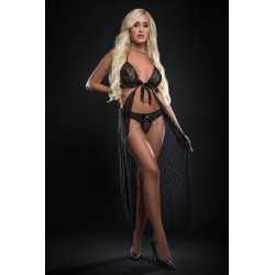 2pc Cut Out Open Front Flyaway Night Gown Adorned Pearl Chains and Panty - One Size - Black