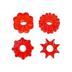 Basic Essentials Cockrings 4 Pack - Red