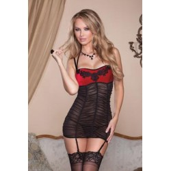 Velvet and Ruched Mesh Chemise  - Black/red - Large