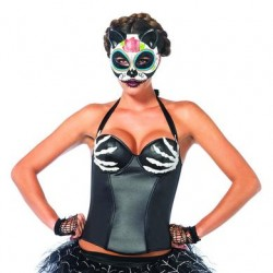 Bony Hands Wet Look Bustier  - Large