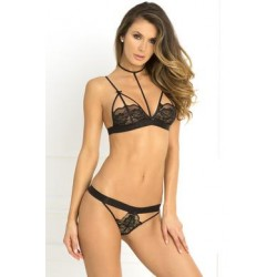 2 Pc Hot Harness Bra and G-string Set - Black - Medium/ Large