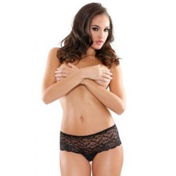 Pearl and Lace Crotchless  Boyshort - Black - Queen Size