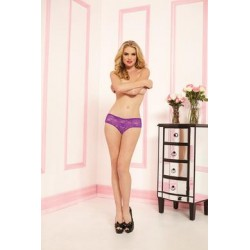 Ruffle Back Lace Boyshort -  Purple - Small