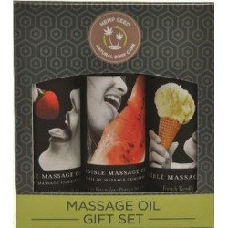 Edible Massage Oil Gift Set Box - Strawberry, Vanilla, and Watermelon 2 Oz. Each