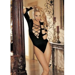 Long Sleeve Cut-out Thong  Bodysuit - Black - One Size