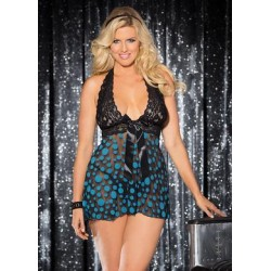 Large Polka Dot Net Babydoll  - Turquoise - Queen Size