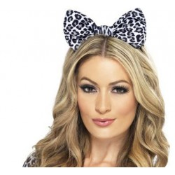 Leopard Bow on Headband  - White and Black