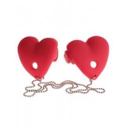 Fetish Fantasy Series Vibrating Heart Pasties - Red