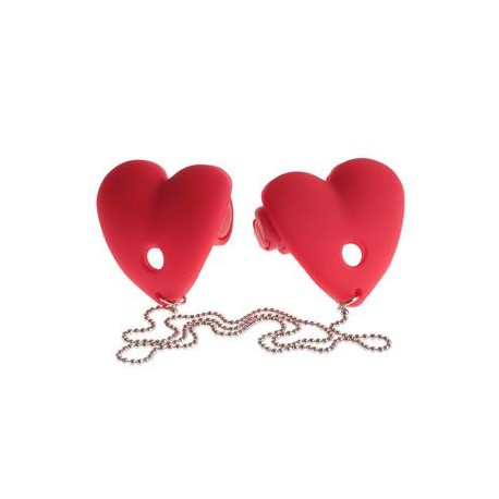 Fetish Fantasy Series Vibrating Heart Pasties - Red
