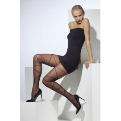Sheer Tights With Cross And Bow - Black