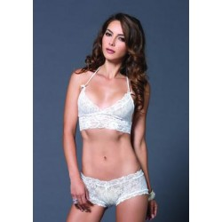 2 Pc. Lace Halter Bra Top with Matching G-string Booty Short - White - Small/medium