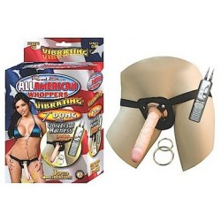 All American Whoppers Vibrating 7-Inch Dong With Harness - Flesh