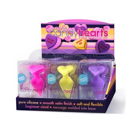 Naughty Candy Hearts - 9  Piece Display - Assorted  Colors