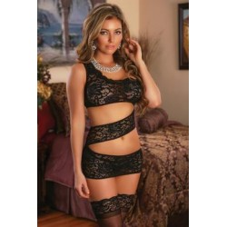 Zigzag Dress and G-string Set  - Black - 1x-3x