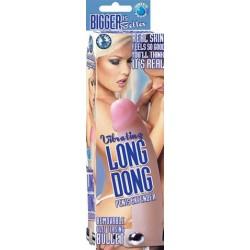 Vibrating Long Dong Penis Extender Flesh