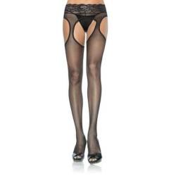 Sheer Garter Pantyhose - Black - One Size