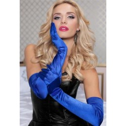 Satin Opera Gloves - Blue