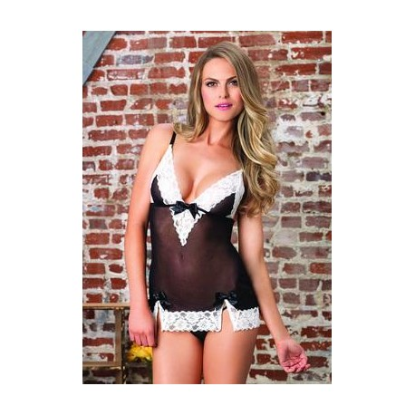 2 Pc. Lace Trimmed Sheer Chemise with Matching G-string - Small/medium