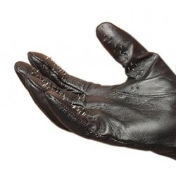 Leather Vampire Gloves With Prickly Metal Points - Medium