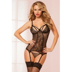 Floral Lace and Fishnet  Chemise and Thong Set - Black  - One Size